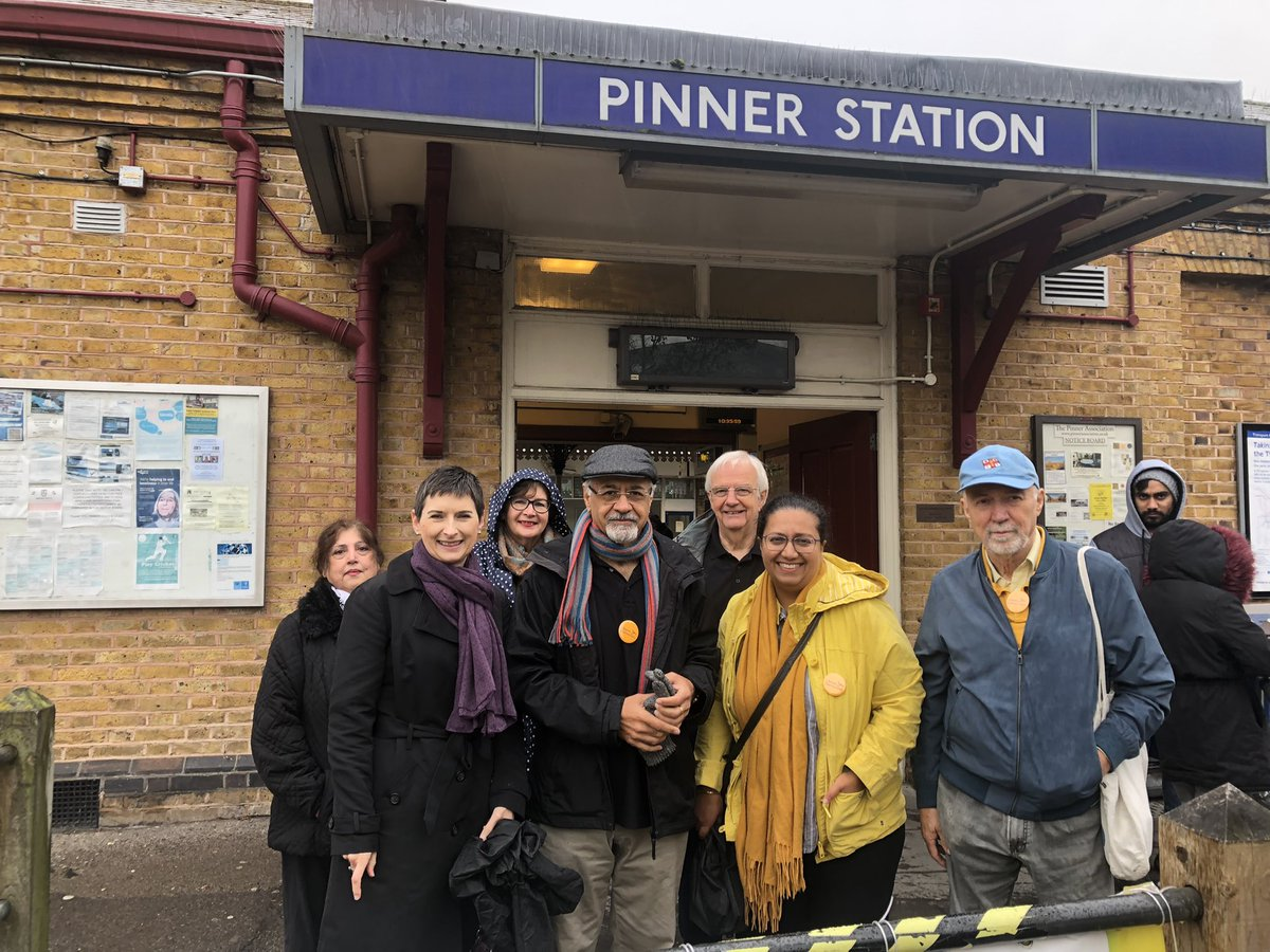 Caroline with Harrow Lib Dems outside Pinner station